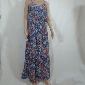 Xhilaration Blue & Orange Paisley Maxi Dress - M